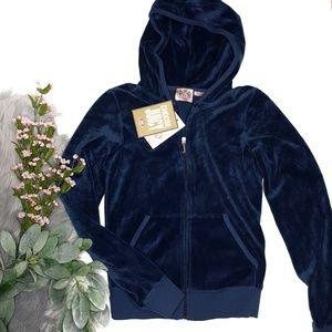 NWT Juicy Couture Velvet Blue Zip Up Hoodie
